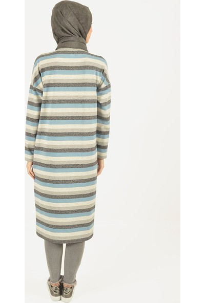 Plistre Çizgili Kadın Tunik Mavi