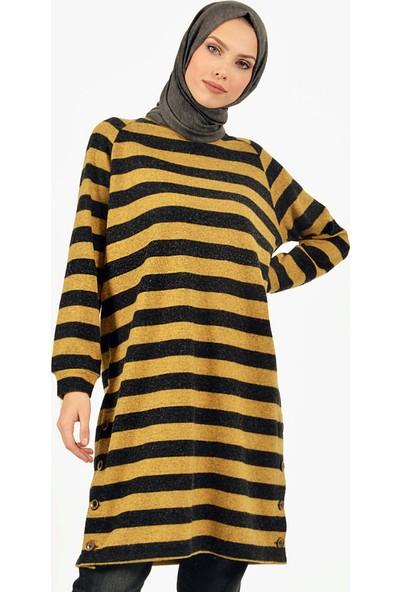 Plistre Çizgili Desenli Kadın Tunik Sarı