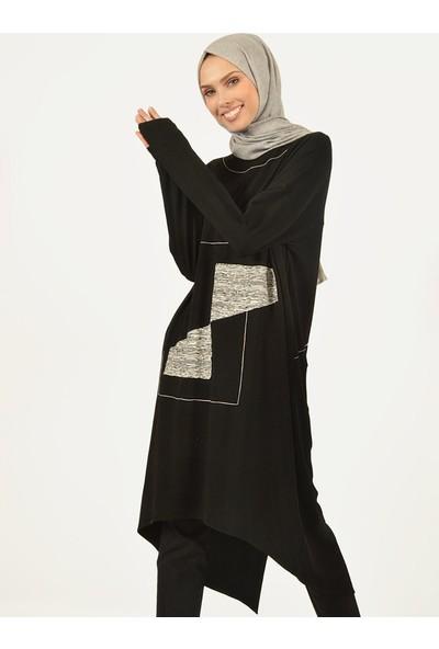Plistre Asimetrik Kadın Tunik Siyah