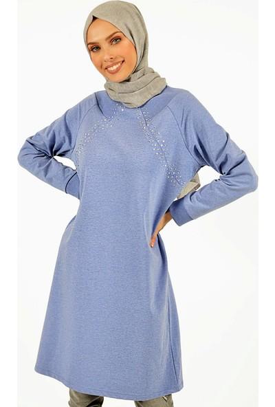 Plistre Taş Detaylı Kadın Tunik Lila