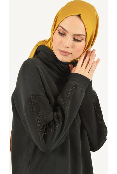 Plistre Sim Detaylı Kadın Tunik Siyah