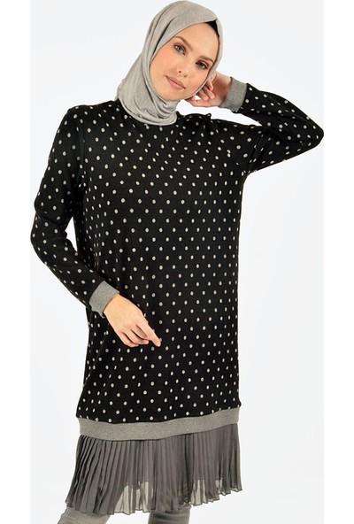 Plistre Puantiyeli Kadın Tunik Siyah