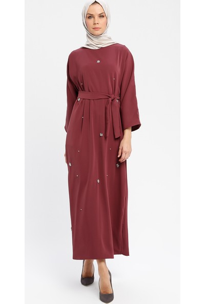 Tuncay Taşlı Elbise Bordo