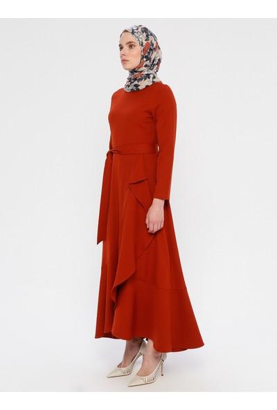 Panaline Volanlı Elbise Kiremit