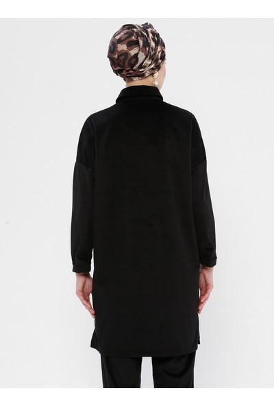 Ginezza Cep Detaylı Düğmeli Kadın Tunik Siyah