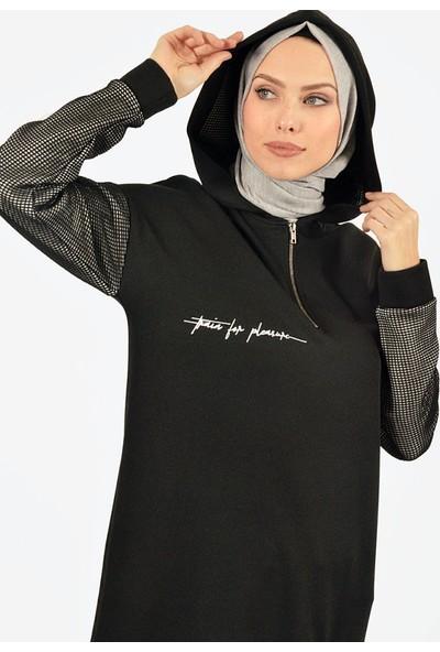 Plistre Kapüşonlu Kadın Tunik Siyah