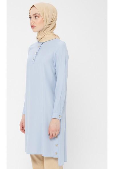 Panaline Düğme Detaylı Kadın Tunik Bebe Mavi