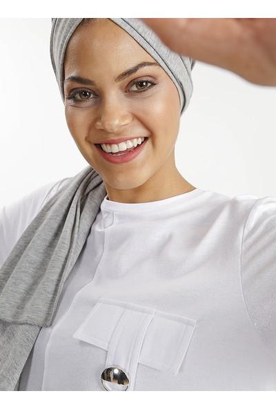 Plistre Cep Süs Detaylı Kadın Tunik Beyaz
