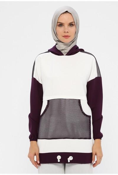 Laruj Cep Detaylı Kapüşonlu Kadın Sweatshirtshirt Mor