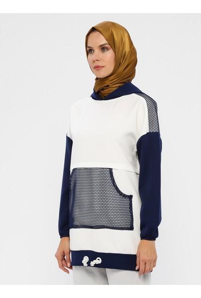 Laruj Cep Detaylı Kapüşonlu Kadın Sweatshirtshirt İndigo