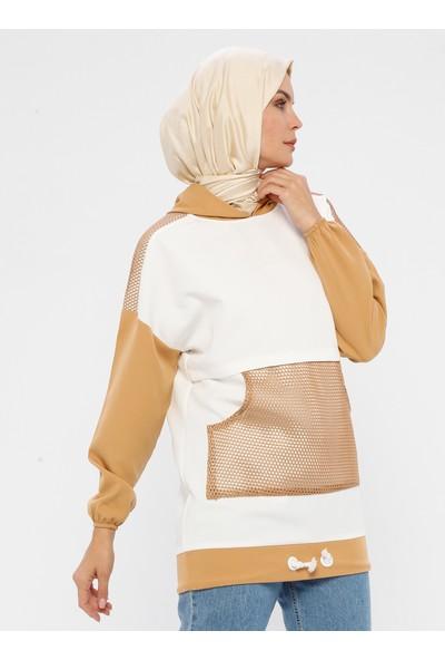 Laruj Cep Detaylı Kapüşonlu Kadın Sweatshirtshirt Taş
