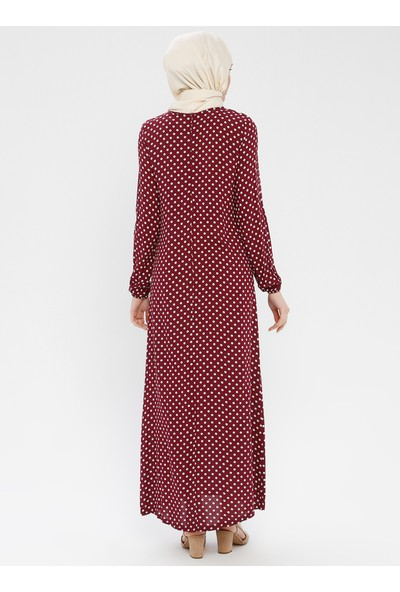 Ginezza Puantiyeli Elbise Bordo