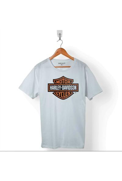 Kendim Seçtim Harley Motorcycles Davidson Orange Bar Kartal Logo Erkek Tişört
