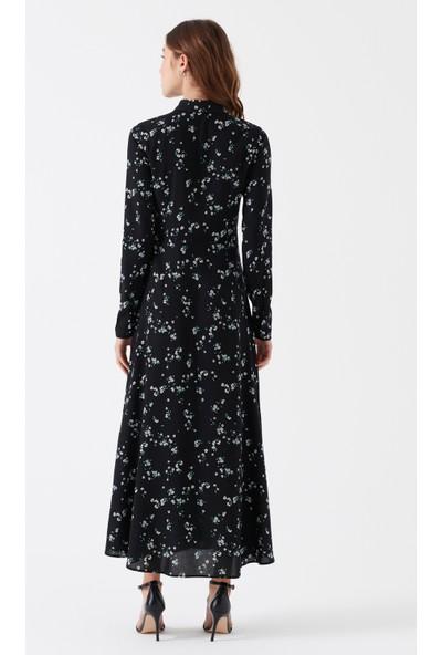 Mavi Baskılı Siyah Elbise