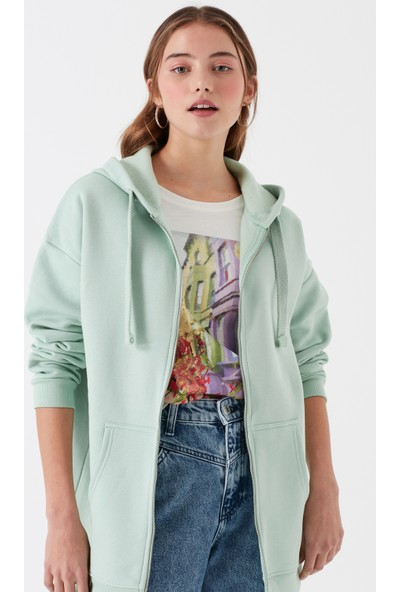Mavi Fermuarlı Yeşil Sweatshirt