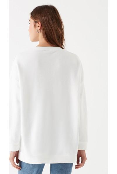 Mavi Lımıted Edıtıon Baskılı Beyaz Sweatshirt