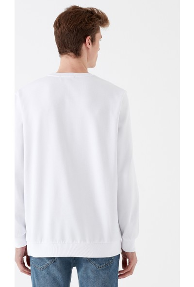 Mavi Mavi Baskılı Beyaz Sweatshirt
