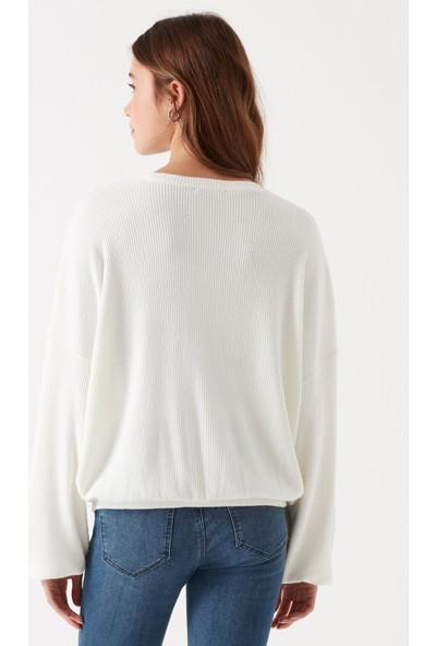 Mavi Uzun Kol Açık Krem T-Shirt
