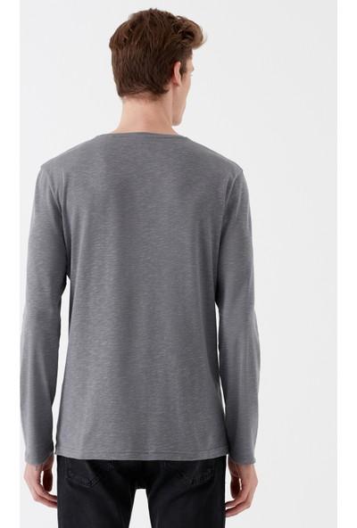 Mavi Uzun Kollu Gri T-Shirt