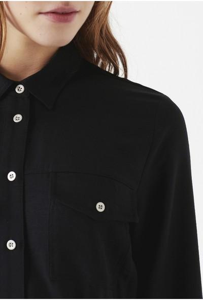 Mavi Uzun Kollu Siyah Elbise