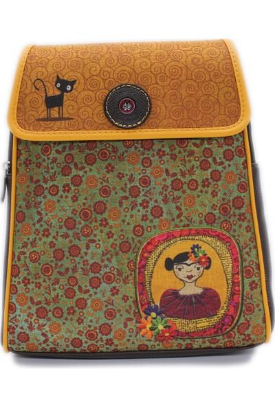 Şaşıkedi Young Frida Siyah Tasarım Kapaklı Sırt Çantası