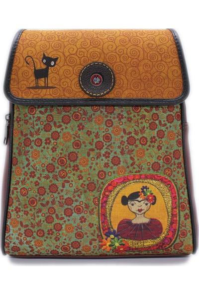 Şaşıkedi Young Frida Bordo Tasarım Kapaklı Sırt Çantası
