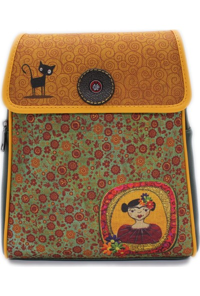 Şaşıkedi Young Frida Yeşil Tasarım Kapaklı Sırt Çantası
