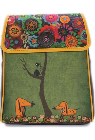 Şaşıkedi Cattree Kahverengi Tasarım Kapaklı Sırt Çantası