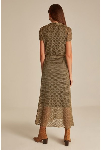 Join Us Kadın Ajurlu Astarlı Simli V Yaka Triko Elbise