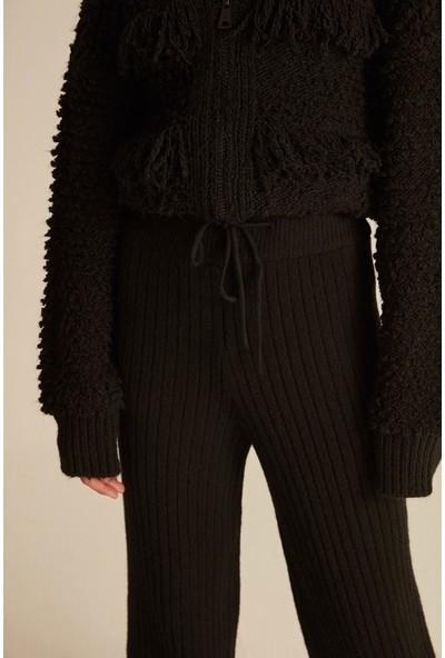 Joın Us Kadın Lastik Paçalı Beli Lastikli Bağcıklı Triko Pantolon Siyah