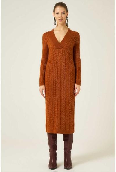 Join Us Kadın V Yaka Saç Örgü Triko Elbise