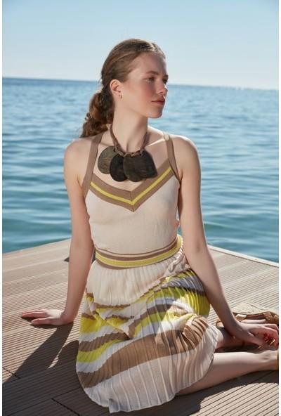 Join Us Çizgili V Yaka Askılı Piliseli Astarlı Triko Elbise
