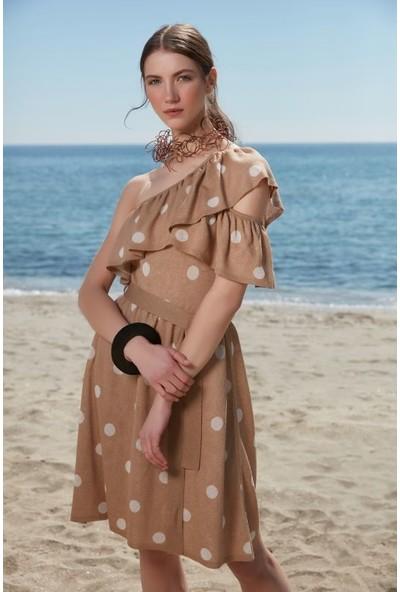 Join Us Puantiyeli Tek Omuz Barkod Fırfırlı Triko Elbise