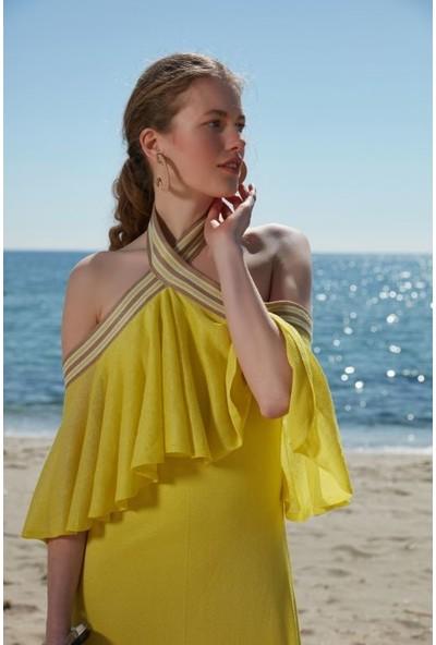 Join Us Bardod Fırfırlı Astarlı Triko Elbise