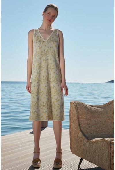 Join Us Çiçek Desenli Ön ve Arka V Detaylı Kolsuz Triko Elbise