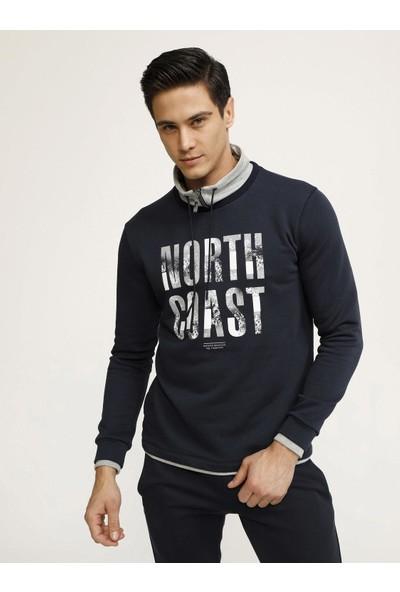 Xint Erkek MCL Şal Yaka Baskılı Sweatshirt