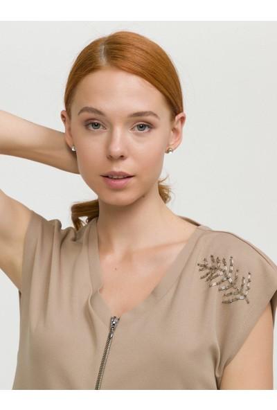 Xint Kadın V Yaka Önden Fermuarlı Omuzu İşlemeli Elbise