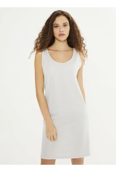 Xint Kadın Yuvarlak Yaka Üstü Şifon Garnili Elbise