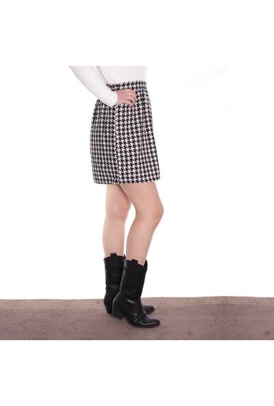 Thanners Kadın Kaz Ayağı Desenli Etek Siyah 29W20000011