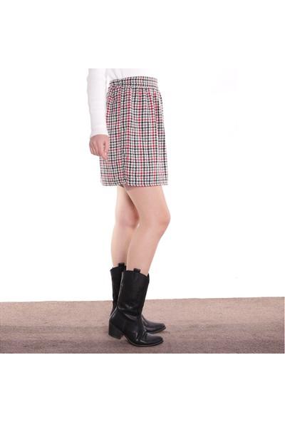 Thanners Kadın Kaz Ayağı Desenli Etek Kırmızı 29W20000012