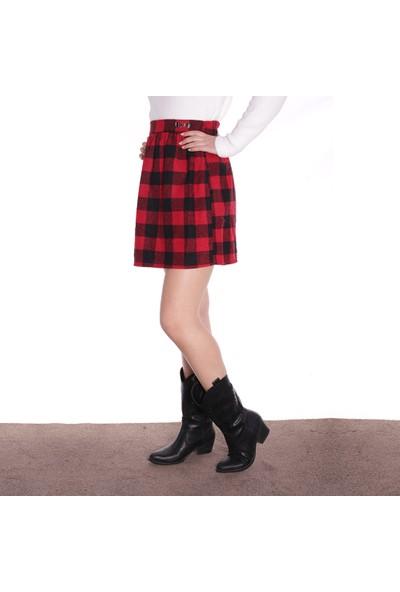 Thanners Kadın Ekoseli Etek Siyah-Kırmızı 29W20000013