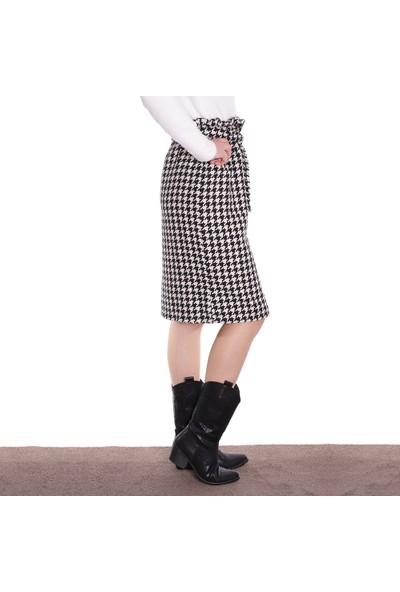 Thanners Kadın Kaz Ayağı Desenli Ara Boy Etek Siyah-Ekru 29W20000020