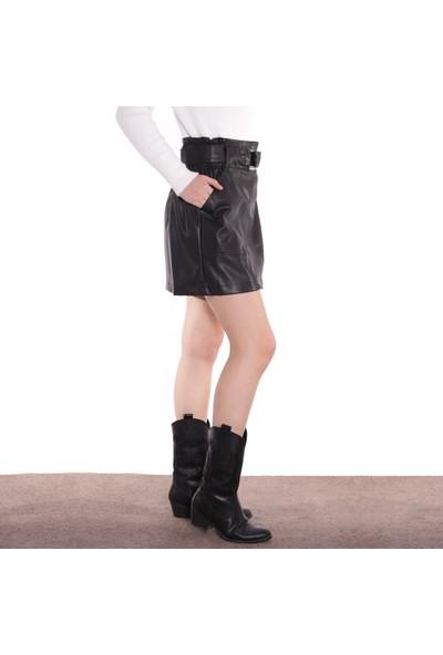 Dilvin Kadın Tokalı Mini Deri Etek ET8397 Siyah 29W20008397