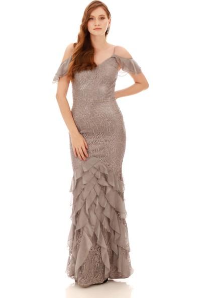 Carmen Gri Dantel Eteği Fırfırlı Abiye Elbise