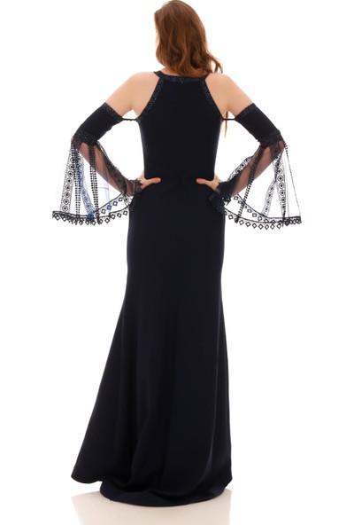 Carmen Lacivert Krep Kolları Dantel Volanlı Abiye Elbise