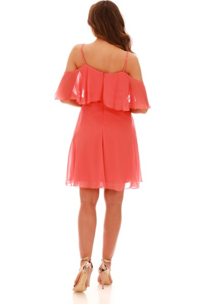 Carmen Turuncu Askılı Düşük Kollu Kısa Abiye Elbise