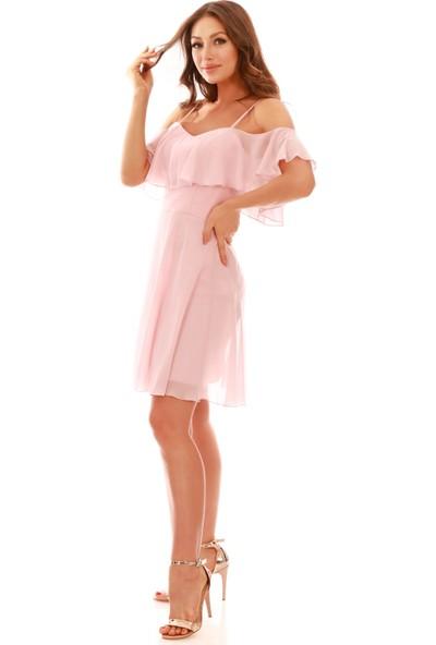 Carmen Somon Askılı Düşük Kollu Kısa Abiye Elbise