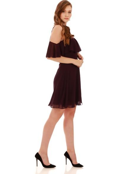Carmen Mürdüm Askılı Düşük Kollu Kısa Abiye Elbise