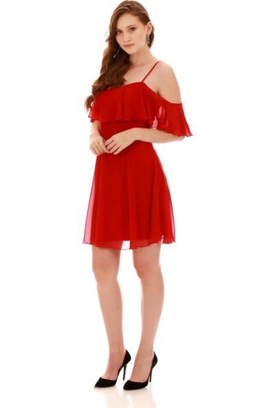 Carmen Kırmızı Askılı Düşük Kollu Kısa Abiye Elbise