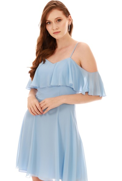 Carmen Bebe Mavi Askılı Düşük Kollu Kısa Abiye Elbise